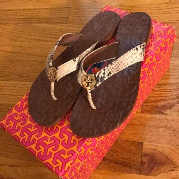 a437a0e34af022 Tory Burch Thora Python Sandals